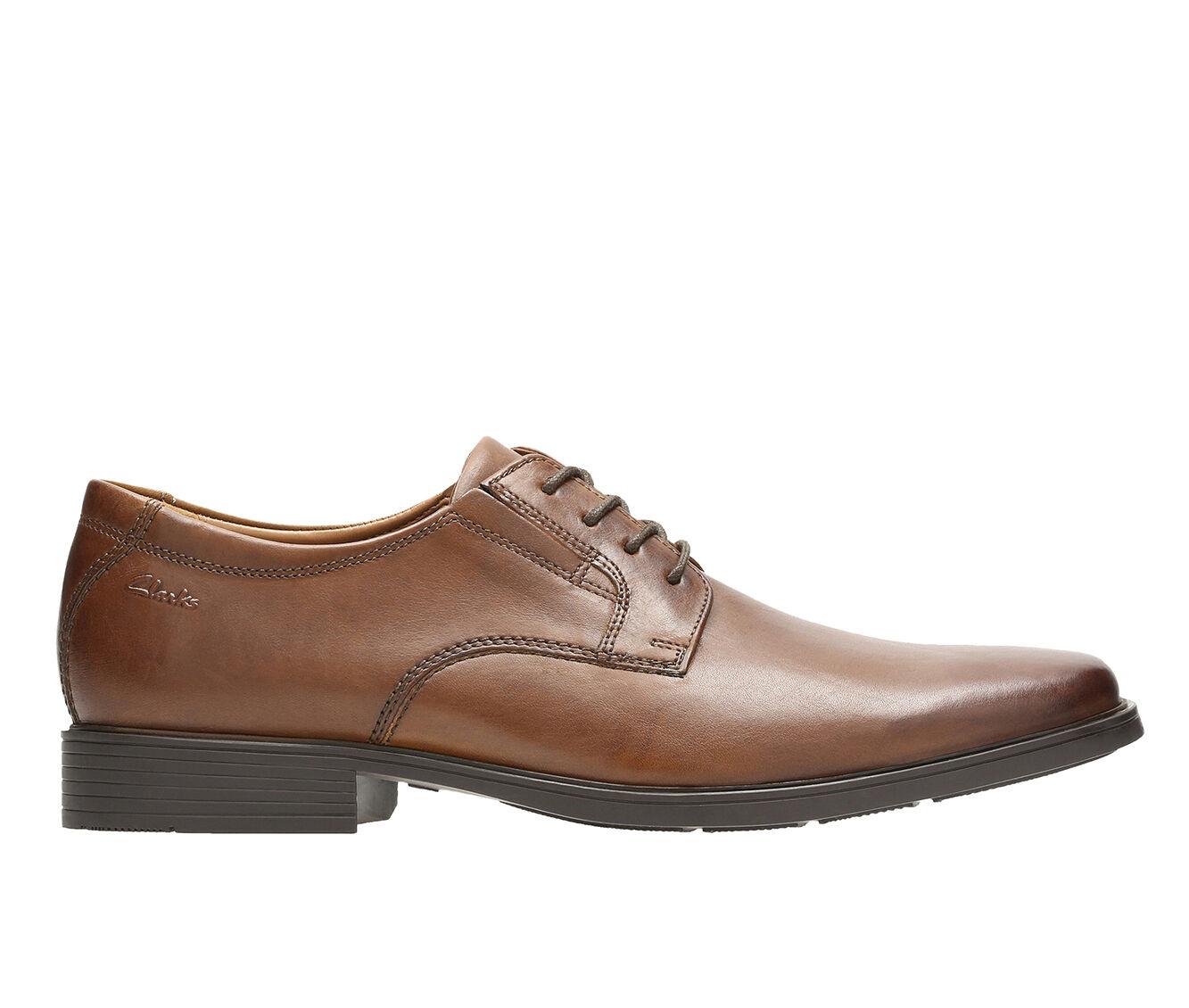 Men's Clarks Tilden Plain Toe Dress Shoes Dark Tan