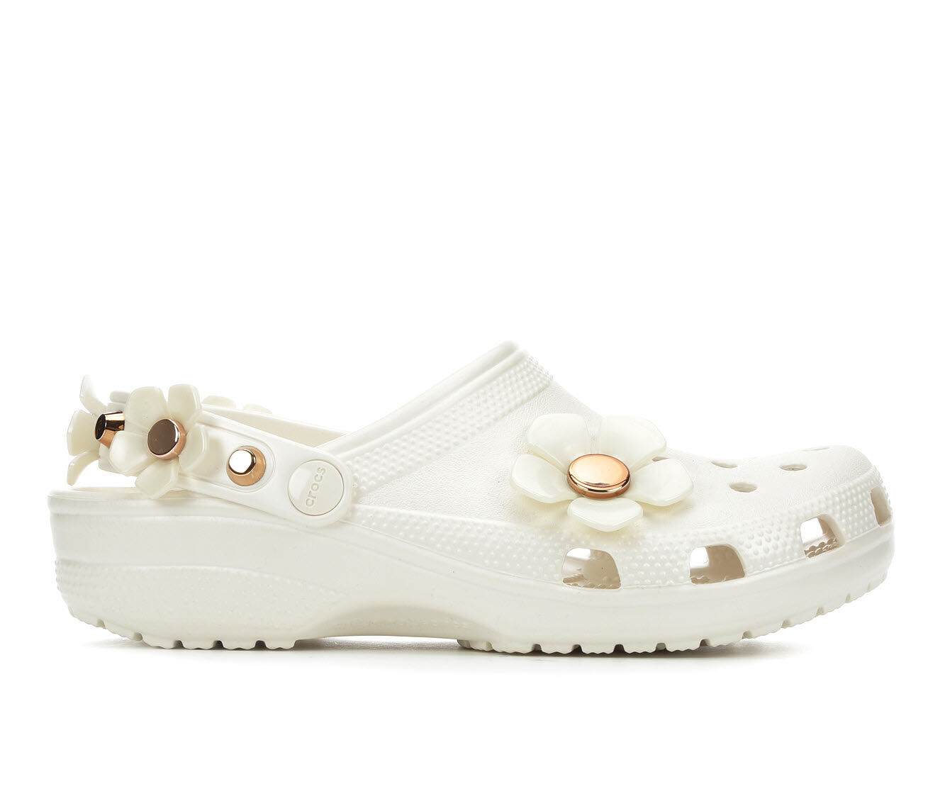 Last style Women's Crocs Classic Metallic Blooms Clogs Oyster