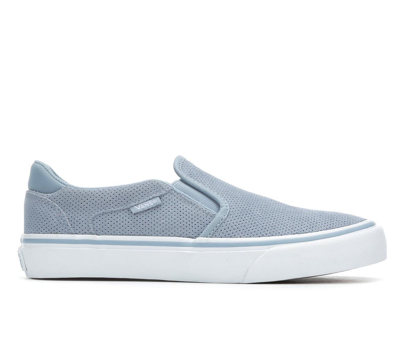 Wholesale Price Women's Vans Asher Deluxe Skate Shoes Blue Fog/Wht