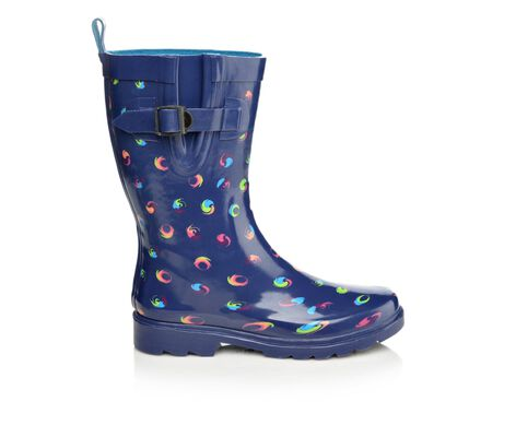 Women's Capelli New York Shiny Swirl Dots Mid Shaft Rain Boots