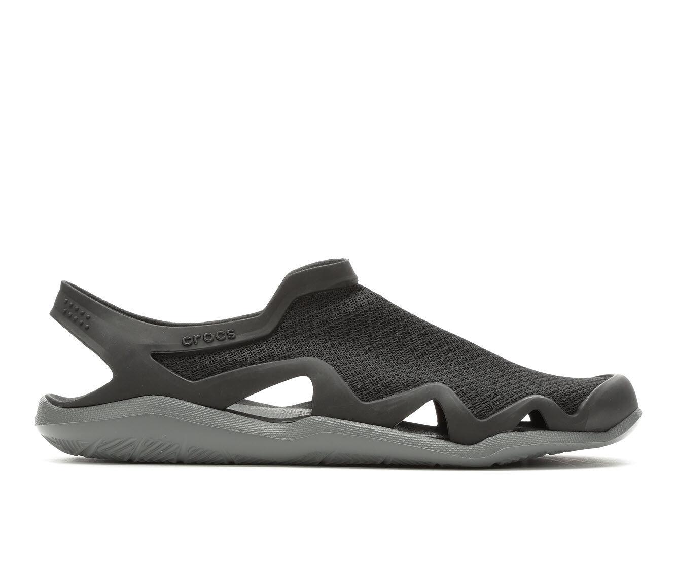 Men's Crocs Swiftwater Mesh Wave Outdoor Sandals Black/SlateGrey