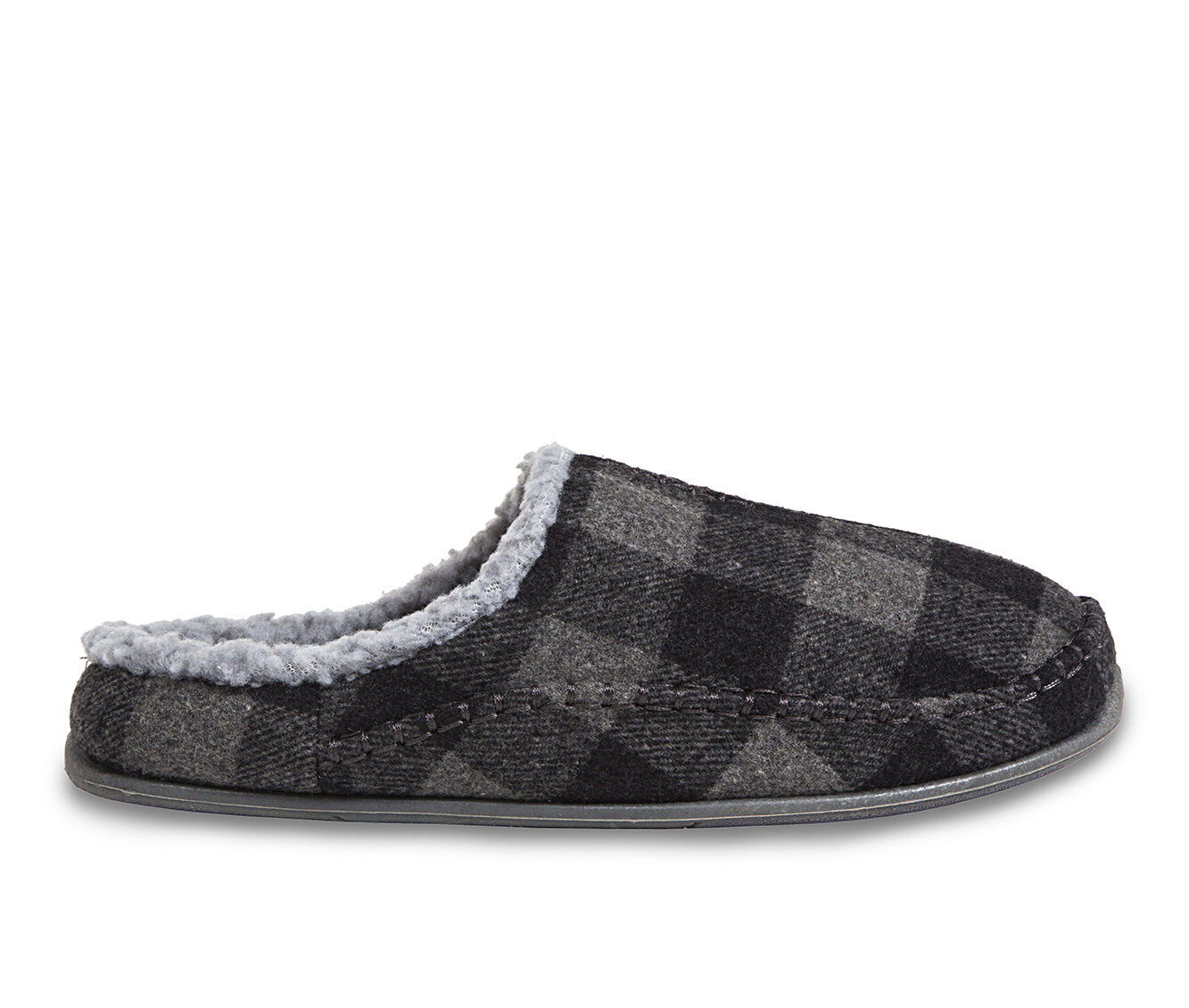 Deer Stags Nordic Slippers Gry/Blk Plaid