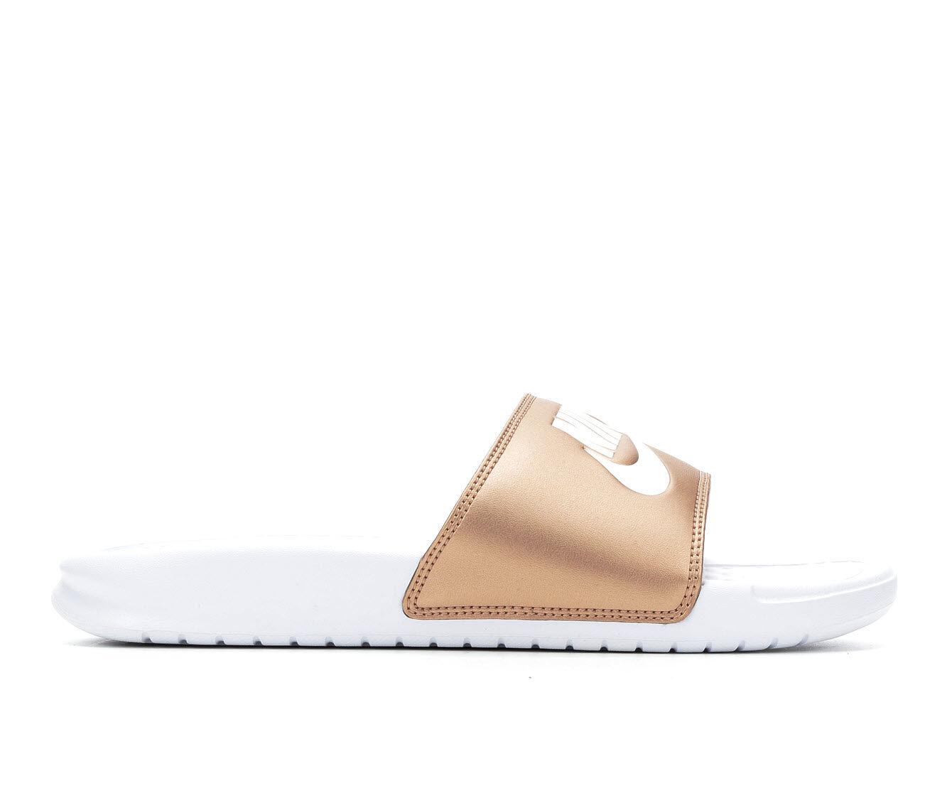Women's Nike Benassi JDI Slide Sandals White/MTLC Bron