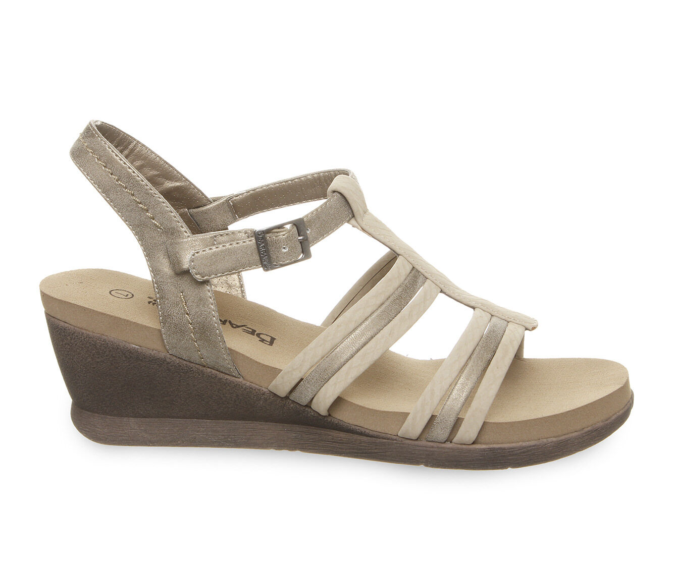 Crazy Price Women's Bearpaw Viola Strappy Wedge Sandals Pewter