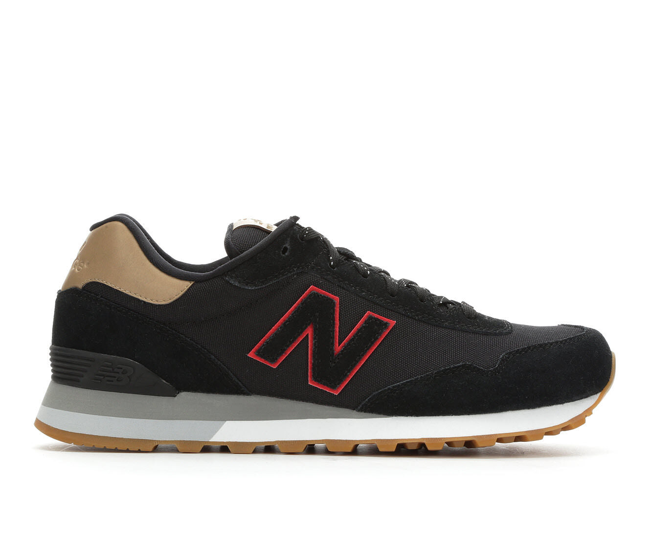 quick shipping Men's New Balance ML515 Retro Sneakers Blk/Brn/Red/Gum
