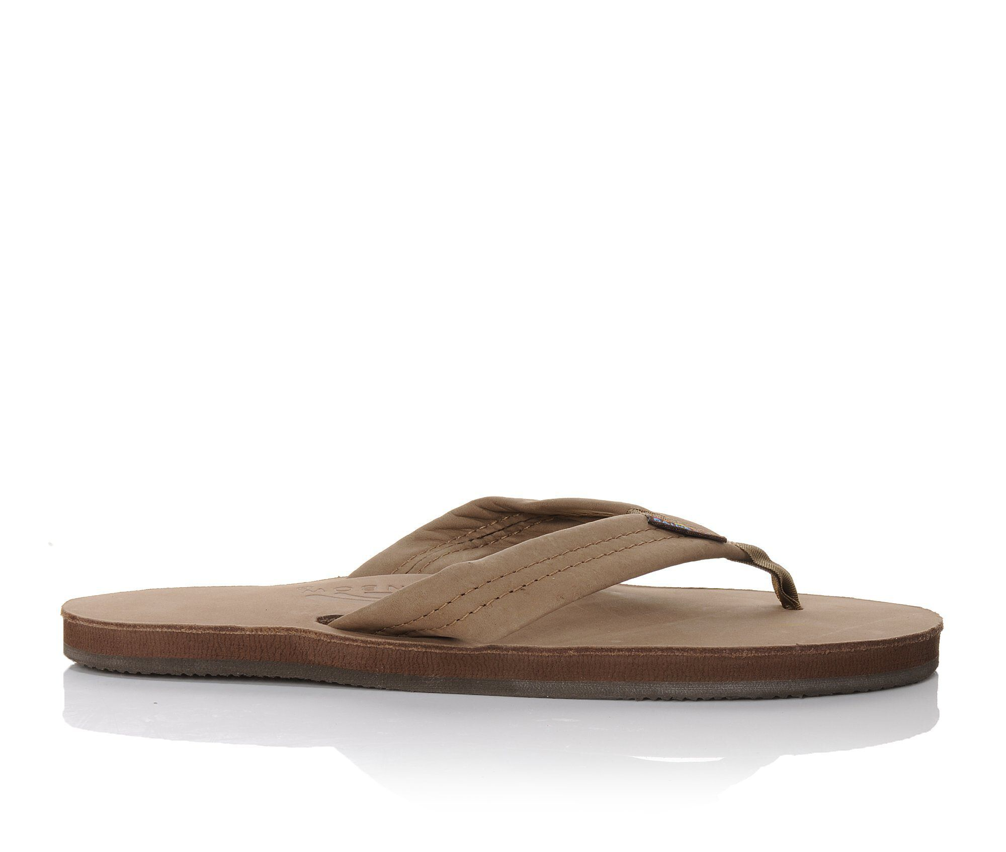 Women's Rainbow Sandals Single Layer Premier Leather -301ALTS Flip-Flops Dark Brown