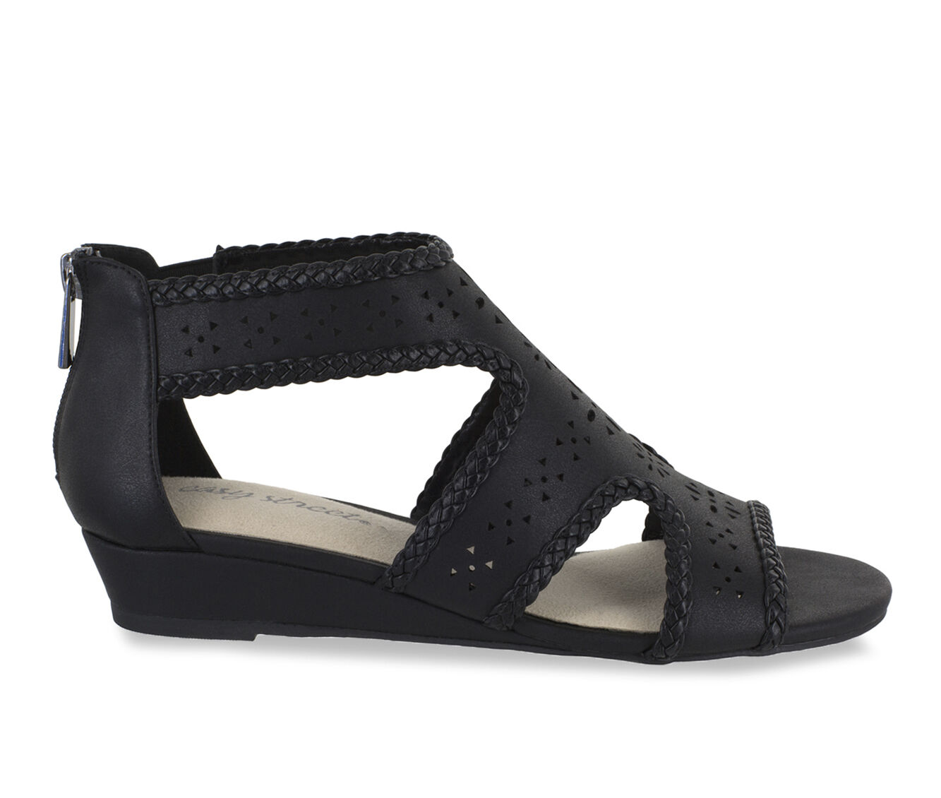 Women's Easy Street Thelma Strappy Wedge Sandals Black