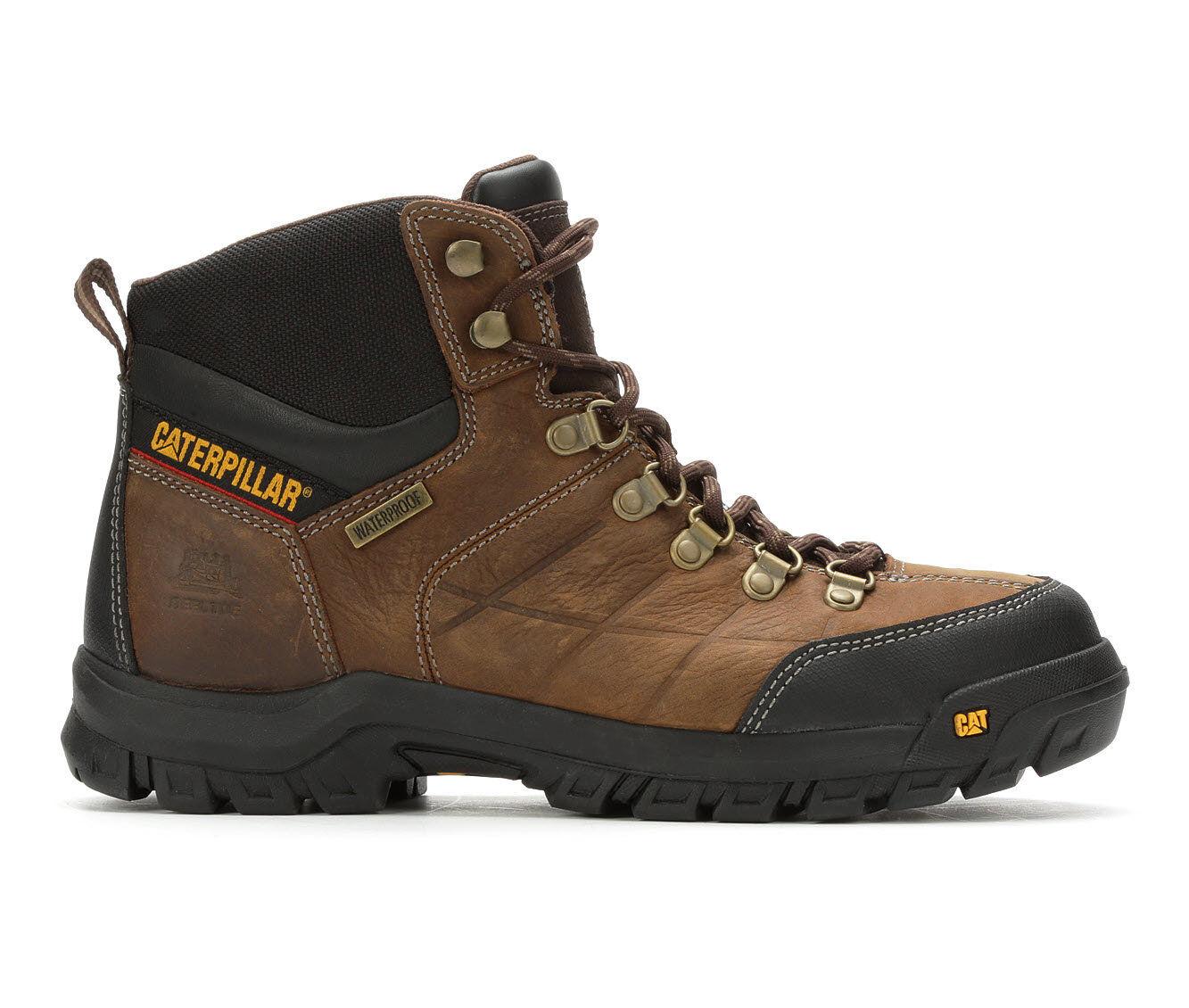 Men's Caterpillar Threshold Waterproof Steel Toe Work Boots Dark Brown