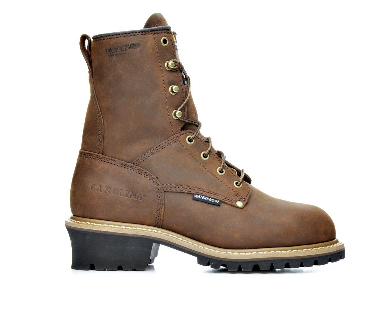 Men's Carolina Boots CA5821 8 In Steel Toe Insulated Logging Work Boots Dark Brown