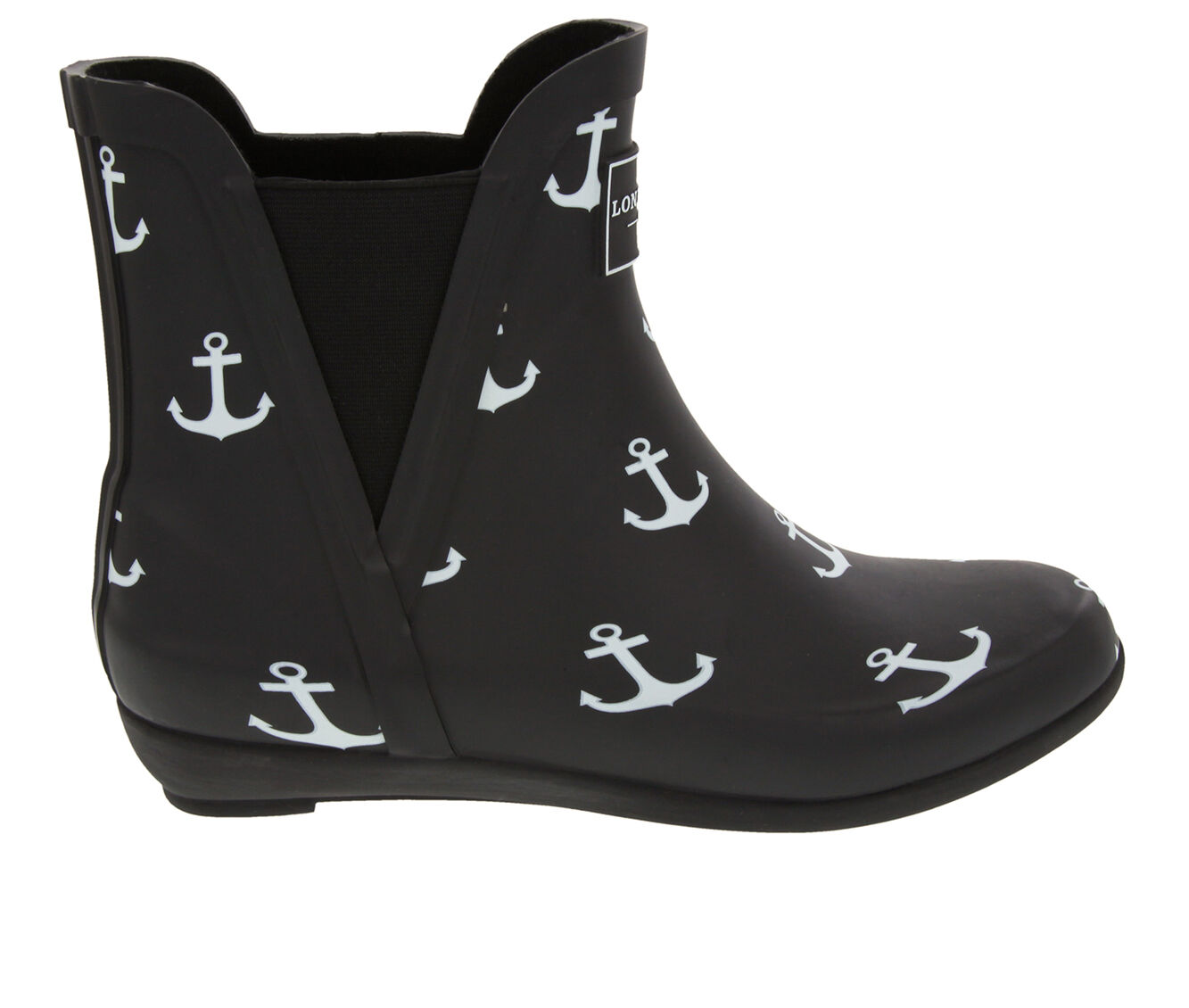 Women's London Fog Piccadilly Rain Boots Black Anchor
