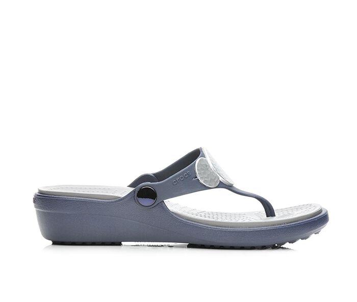 Women's Crocs Sanrah Embellished Wedge Flip-Flops