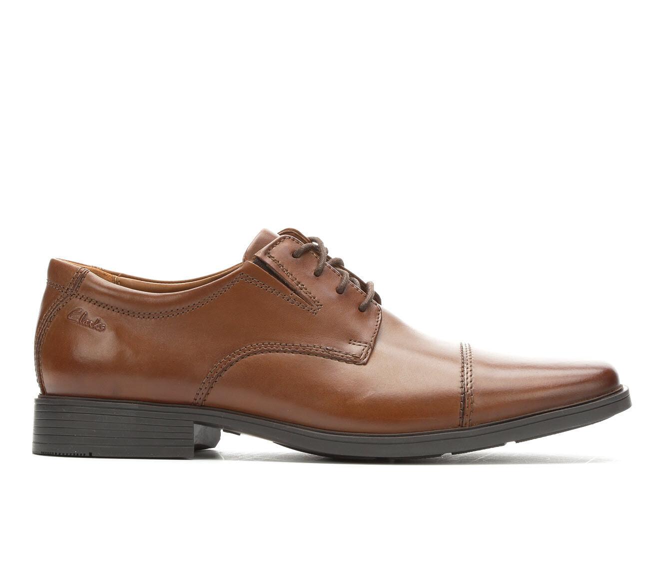 Factory Sale Men's Clarks Tilden Cap Dress Shoes Dark Tan