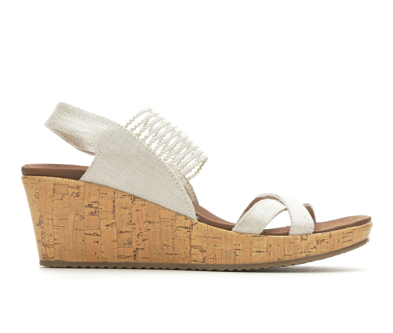 Women's Skechers Cali High Tea 31723 Strappy Wedge Sandals Natural