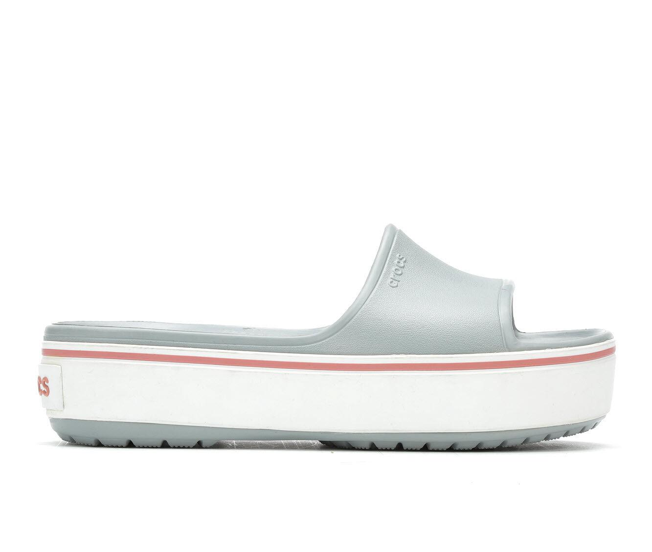 Women's Crocs Crocband Platform Sl Flatform Slides Grey/Rose