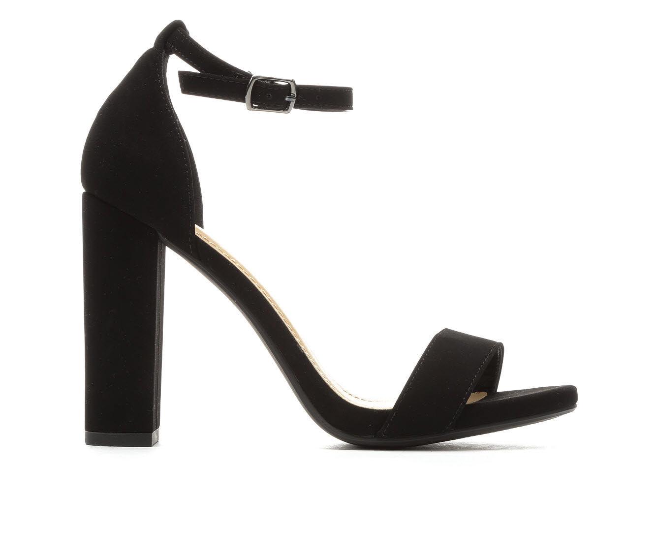 Women's Delicious Shiner Heeled Sandals Black