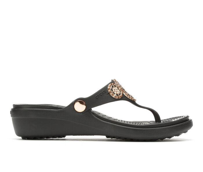 Women's Crocs Sanrah Diamente Wedge Flip-Flops