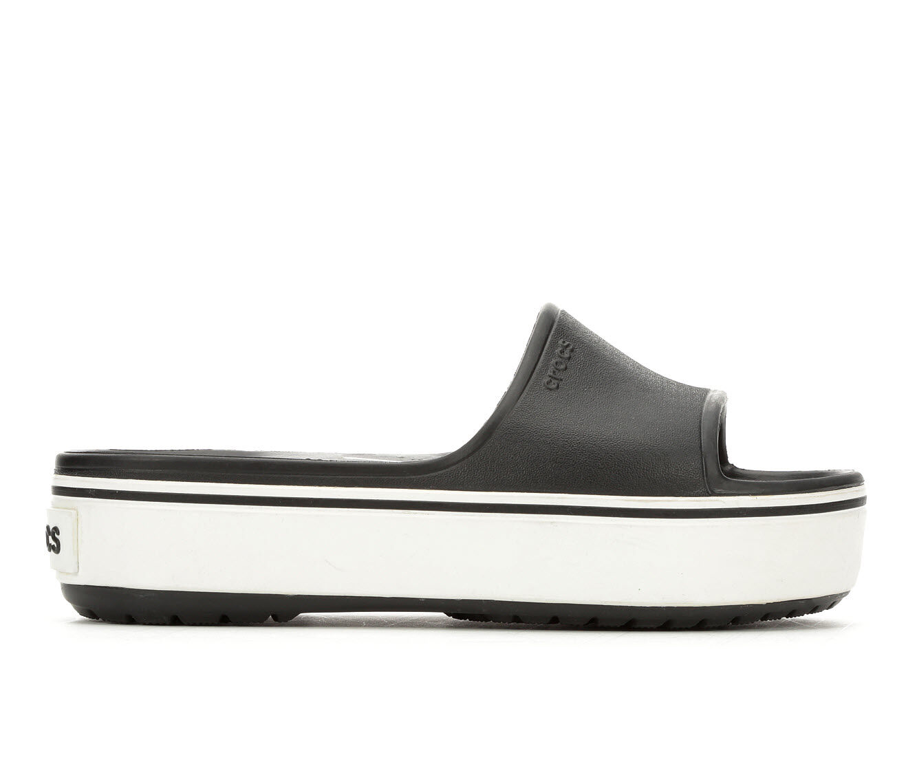 Unique Women's Crocs Crocband Platform Sl Flatform Slides Black/White