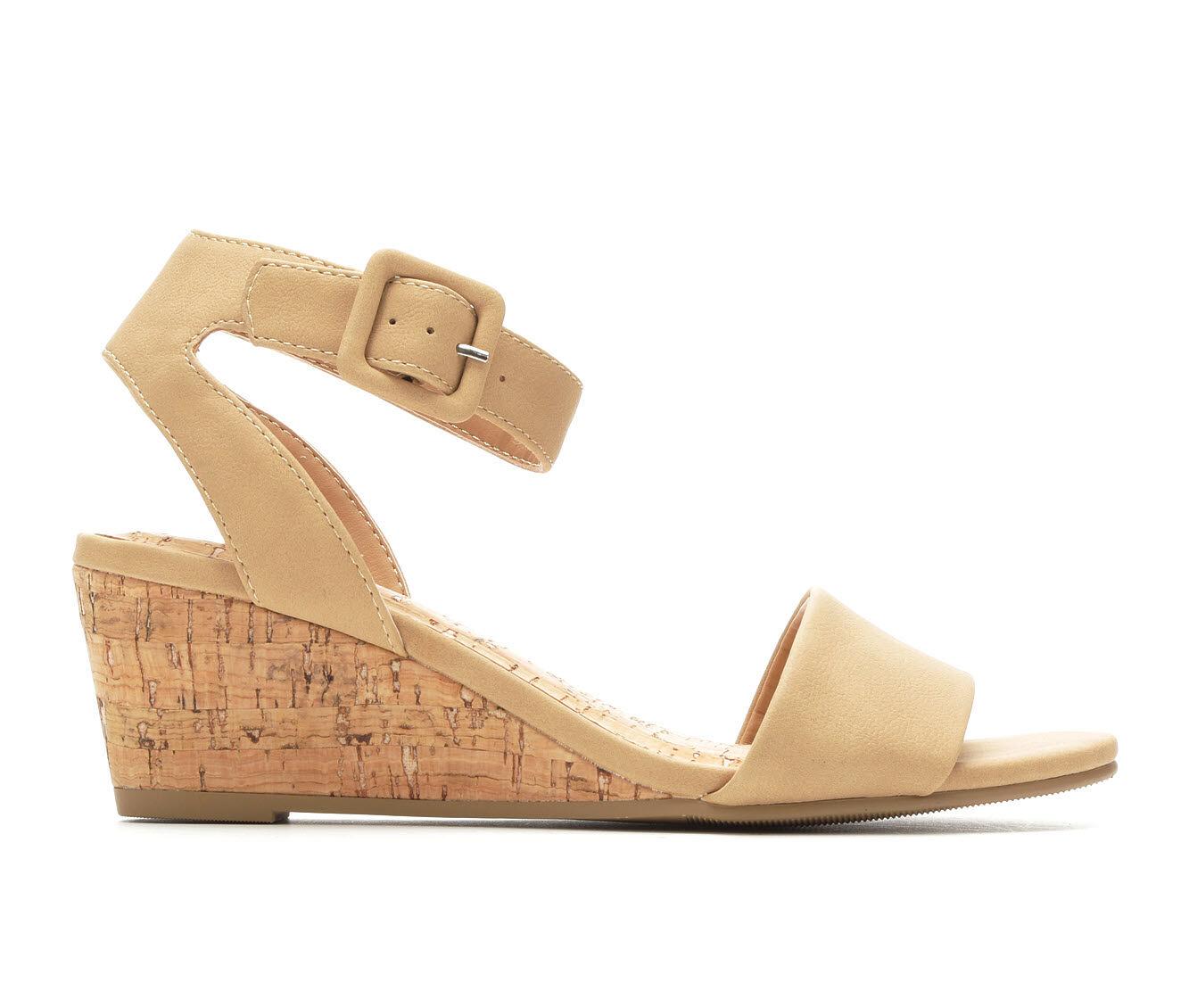 Speical Offer Women's Solanz Ellie Wedge Sandals Natural Nubuck