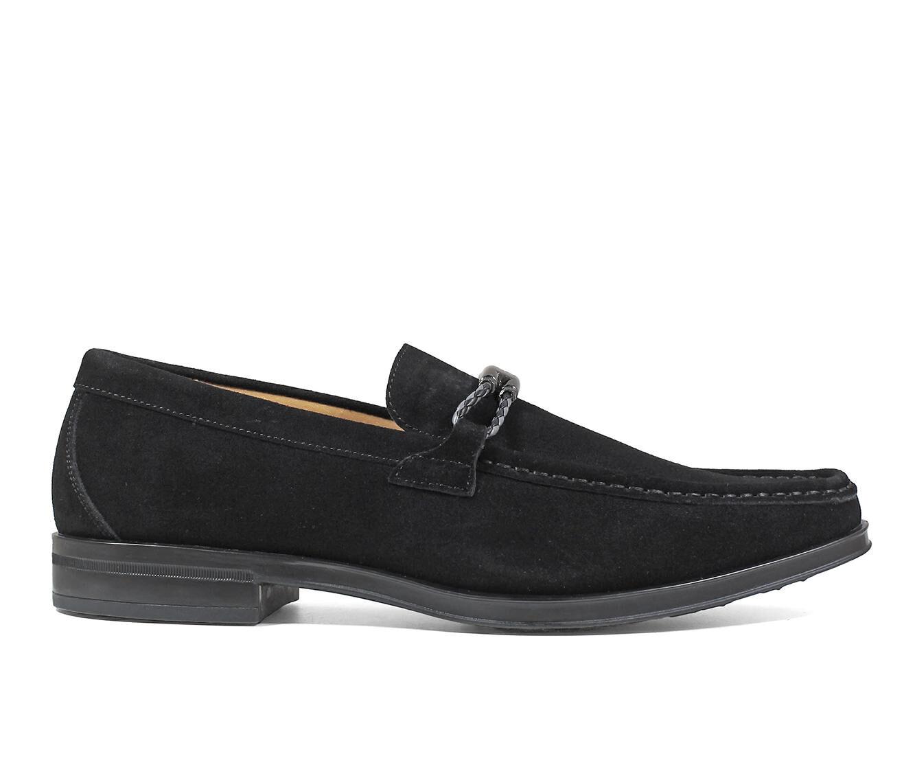 Men's Stacy Adams Neville Suede Moc Slip-On Dress Shoes Black