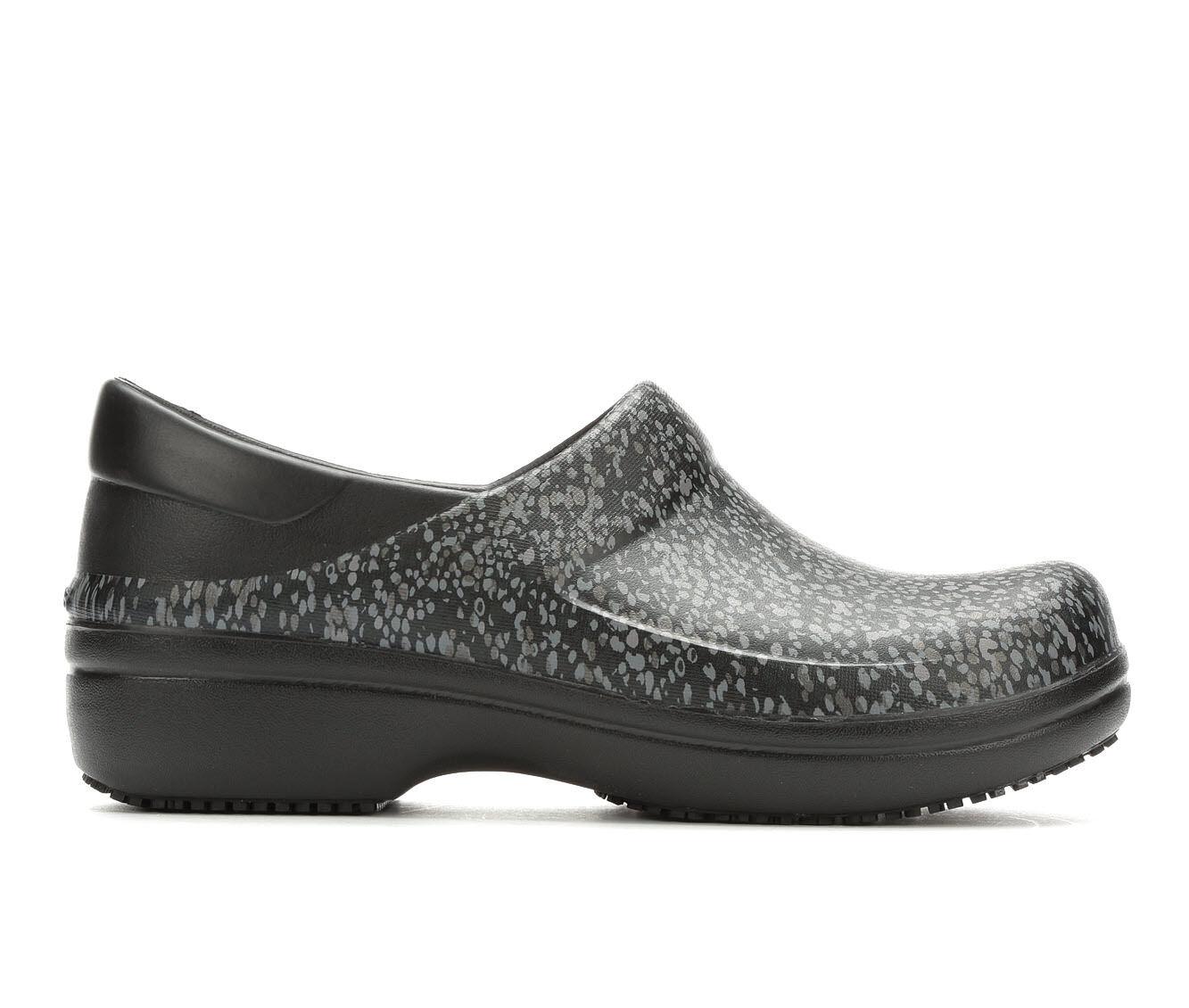 Women's Crocs Work Neria Pro II Graphic Slip-Resistant Clogs Black/Dots