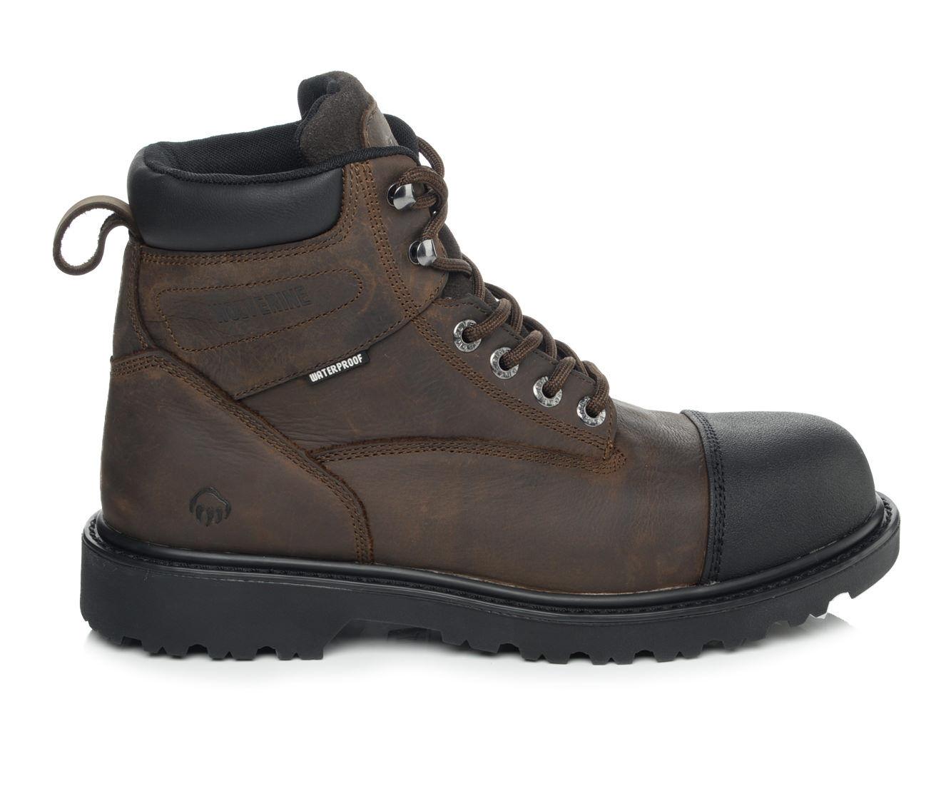 Men's Wolverine Rig 6 In Soft Toe Work Boots Dark Brown