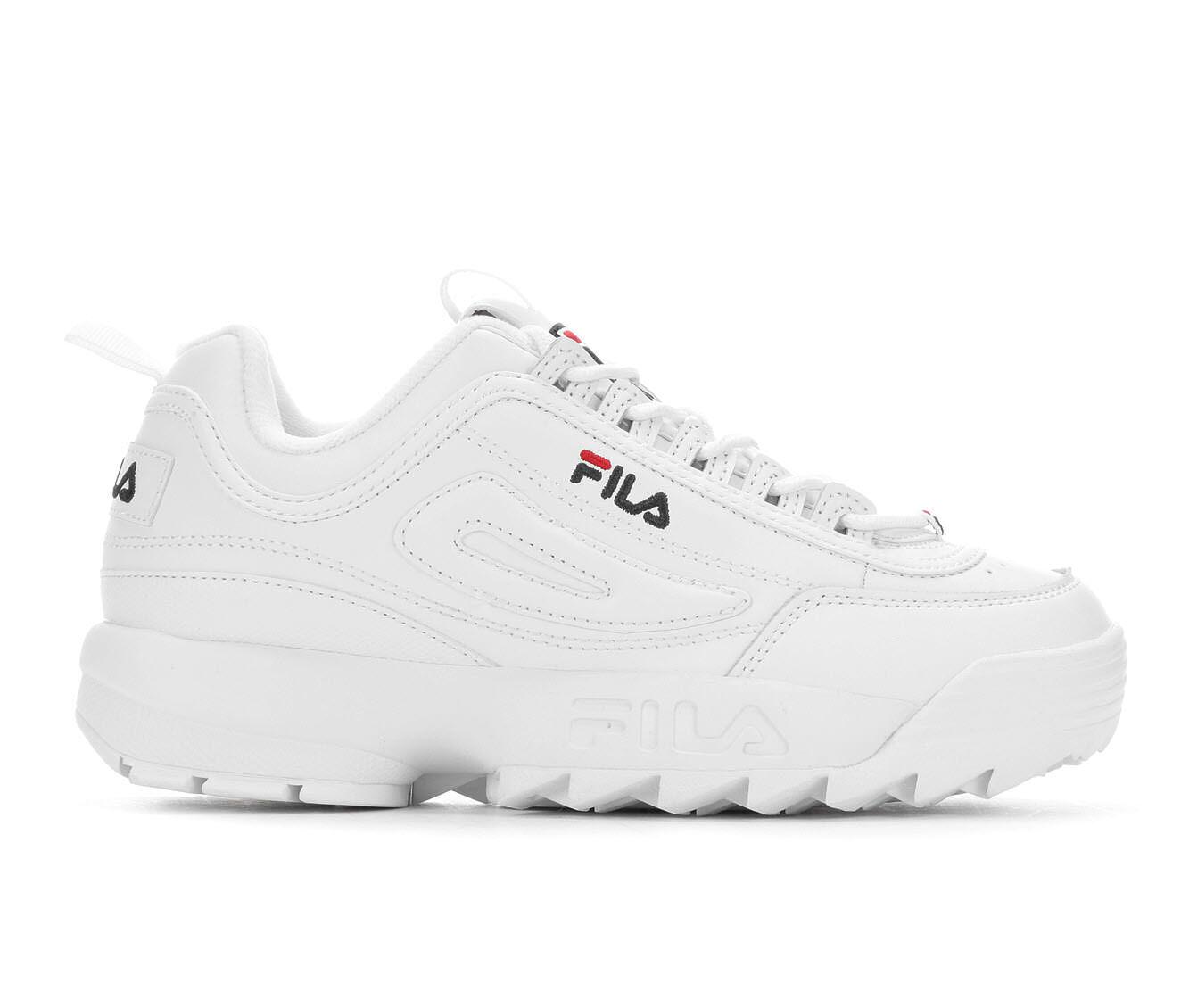 Women's Fila Disruptor II Premium Sneakers White/Navy/Red