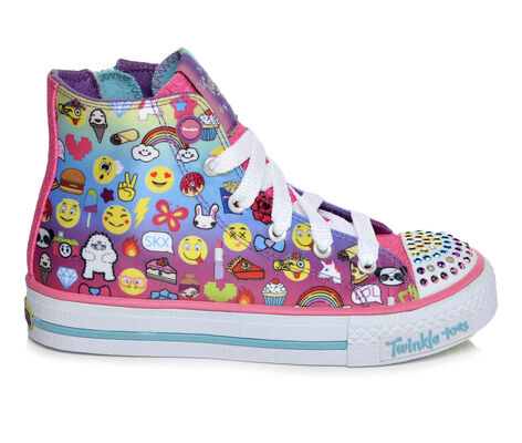 Girls' Skechers Shuffles Chat Time High Top Light-Up Sneakers