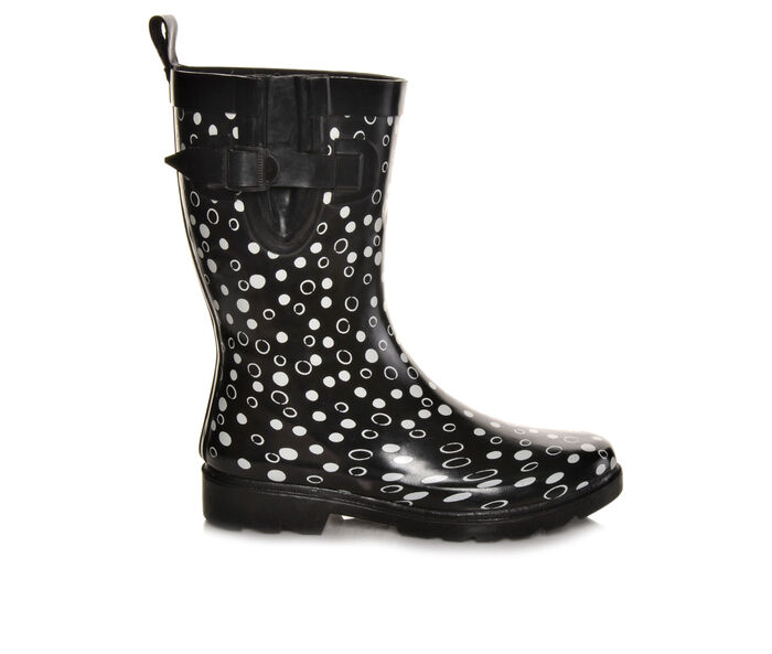 Women's Capelli New York Shiny Sprinkle Dots Mid Shaft Rain Boots