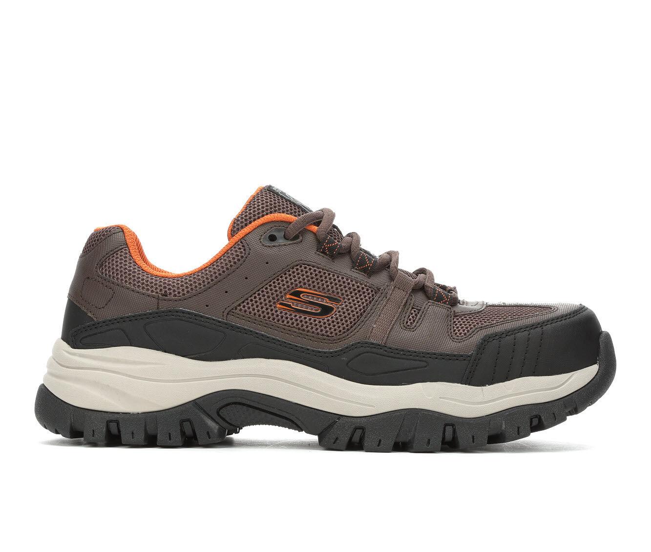 Men's Skechers Work Kerkade Steel Toe Waterproof 77505 Work Shoes Brown/Orange