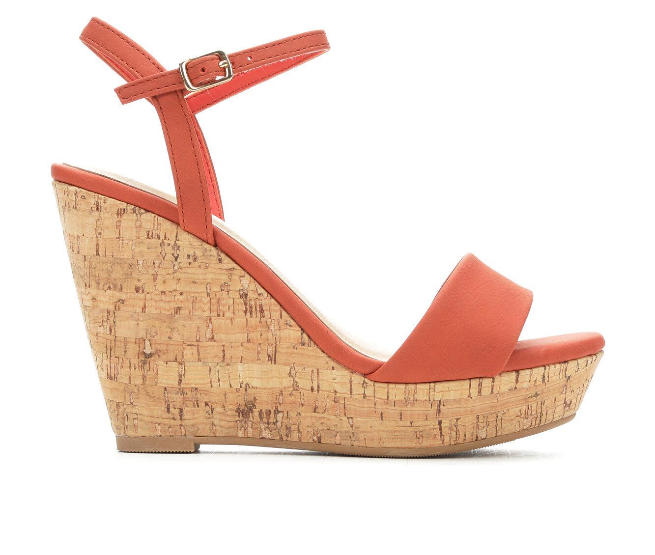 Women's Y-Not Elsie Cork Platform Wedge Sandals Burnt Orange