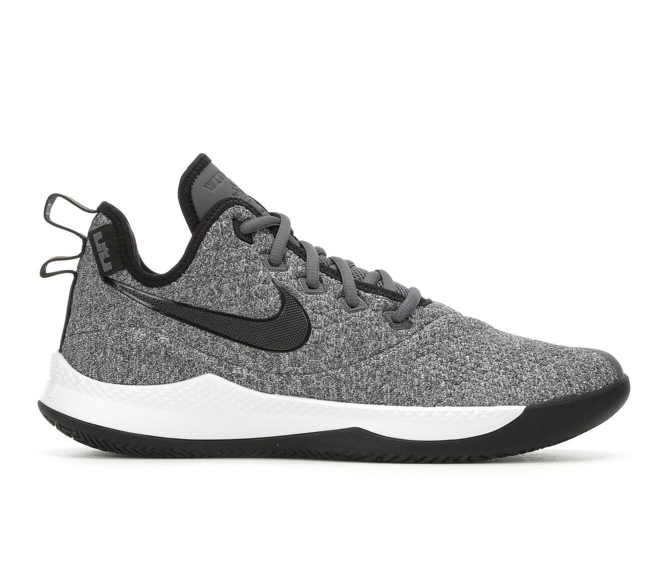 Men's Nike Lebron Witness III Basketball Shoes Gry/Blk 002