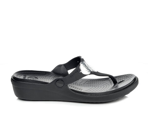 Women's Crocs Sanrah Embellished Wedge Flip-Flops