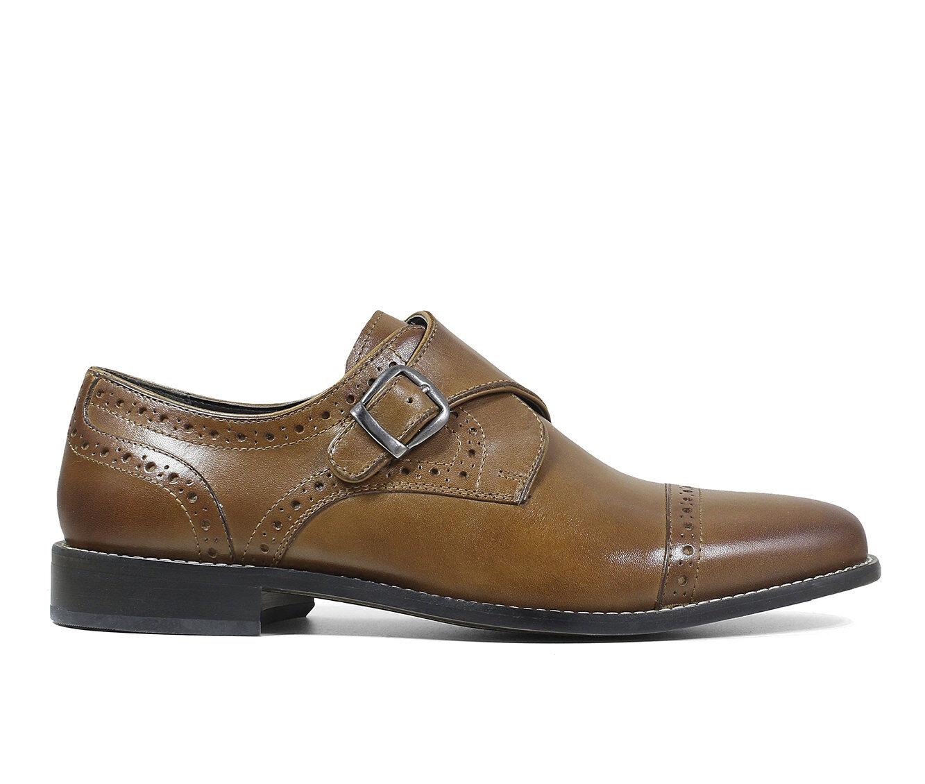 Men's Nunn Bush Newton Cap Toe Monk Strap Dress Shoes Cognac