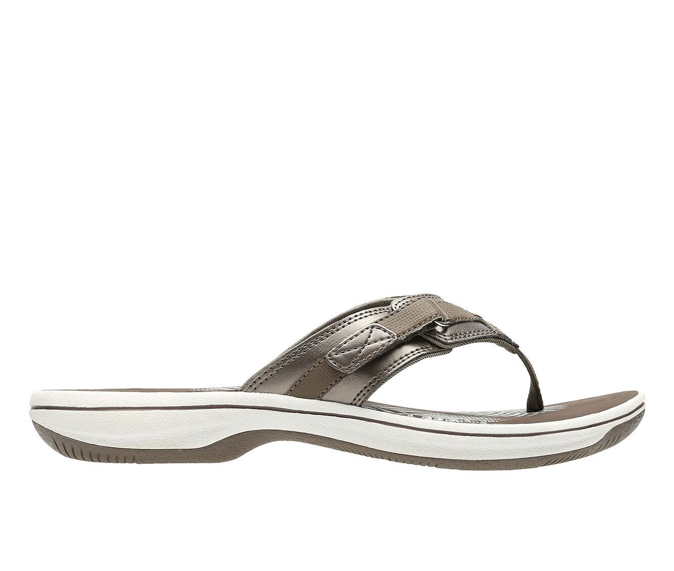 Women's Clarks Breeze Sea Sandals Pewter Syn