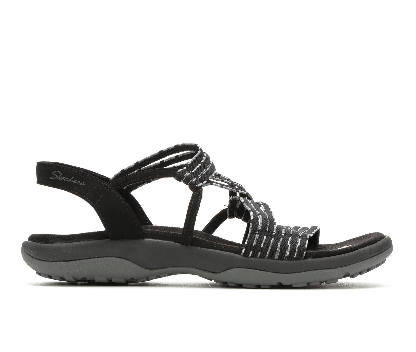 choose comfortable Women's Skechers Reggae Stretch Appeal Hiking Sandals Black