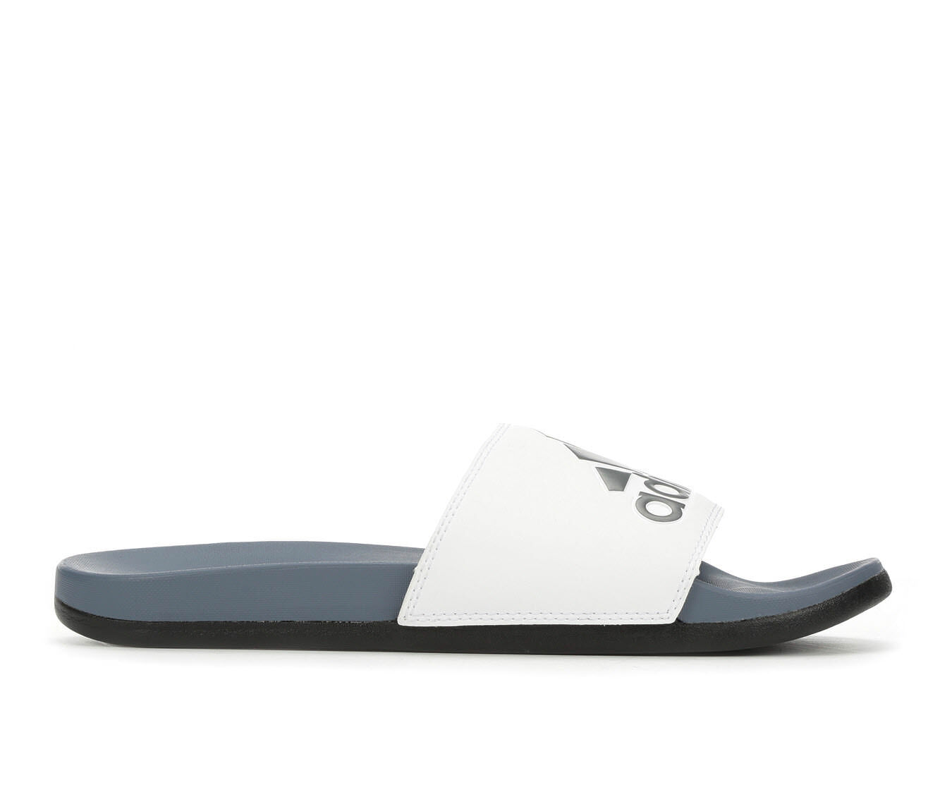 discount Men's Adidas Adilette Cloudfoam + Logo Sport Slides Steel/White