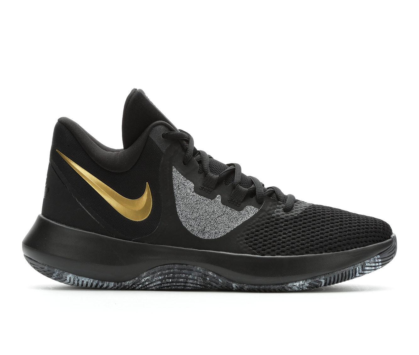 Men's Nike Air Precision II High Top Basketball Shoes Black/Gold/Grey