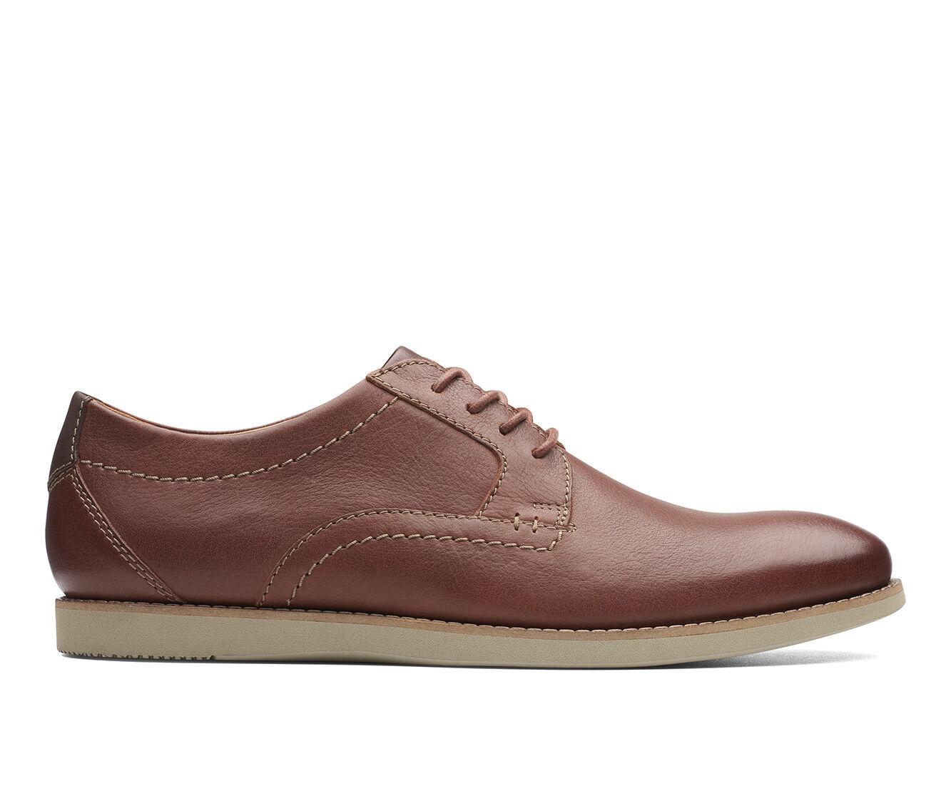 Men's Clarks Raharto Plain Toe Dress Shoes Brown Tumbled