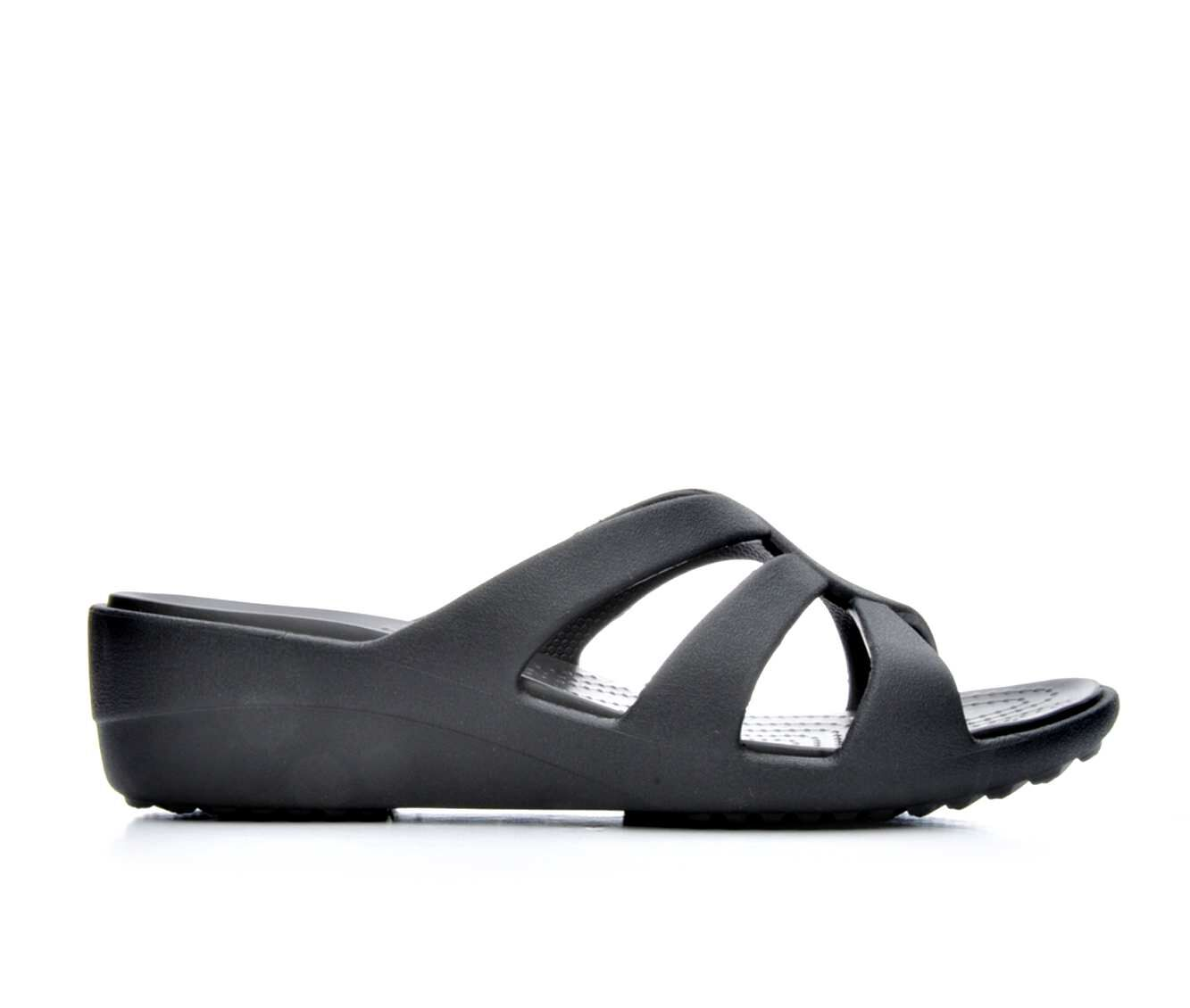 Women's Crocs Sanrah Strappy Wedge Sandals Black