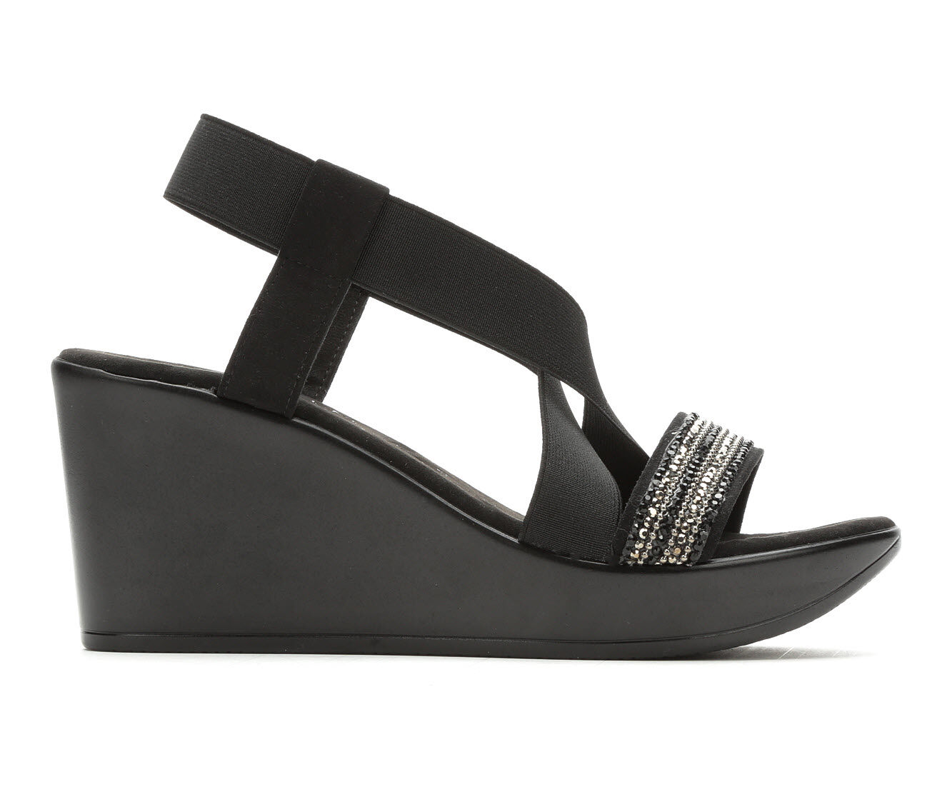Women's Italian Shoemakers Accent Strappy Wedge Sandals Black