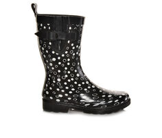 Women's Capelli New York Shiny Sprinkle Dots Mid Shaft Rain Boots