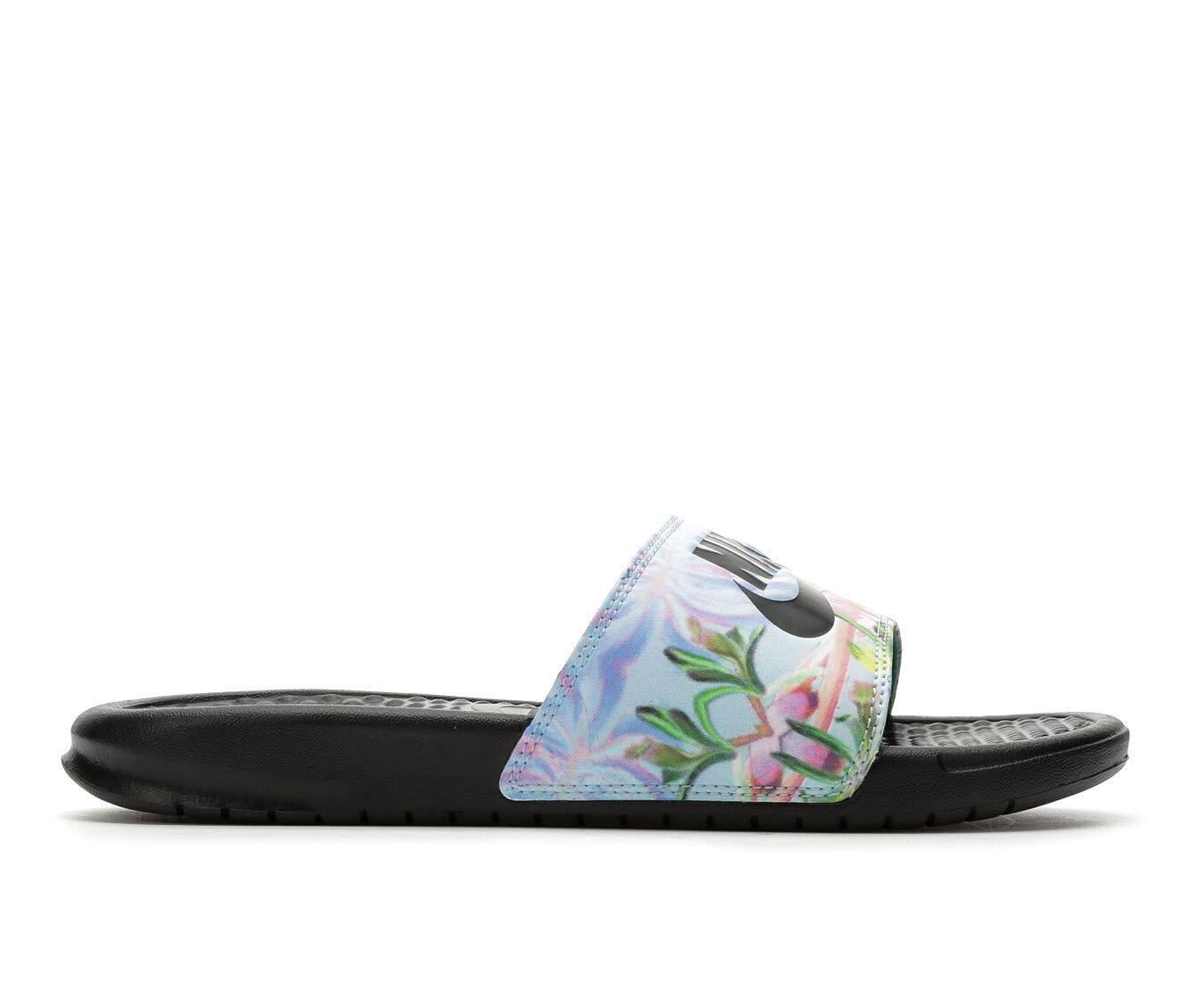 buy coupon Women's Nike Benassi JDI Print Sport Slides Purple/Plat/Num