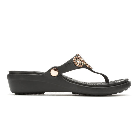 Women's Crocs Sanrah Diamente Wedge Sandals