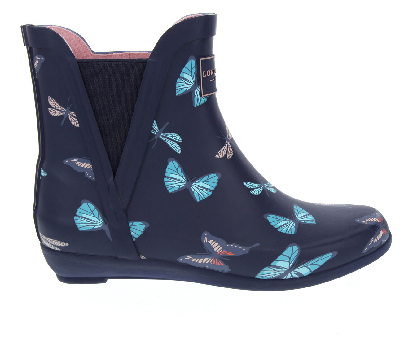 Women's London Fog Piccadilly Rain Boots Navy Butterfly