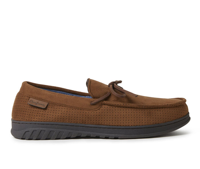 Dearfoams Ethan Perforated Moccasin with Tie Slippers