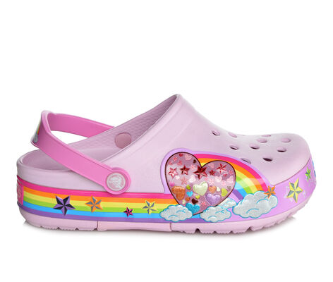 Girls' Crocs CrocsLights Rainbow Heart Clog Light-Up Shoes