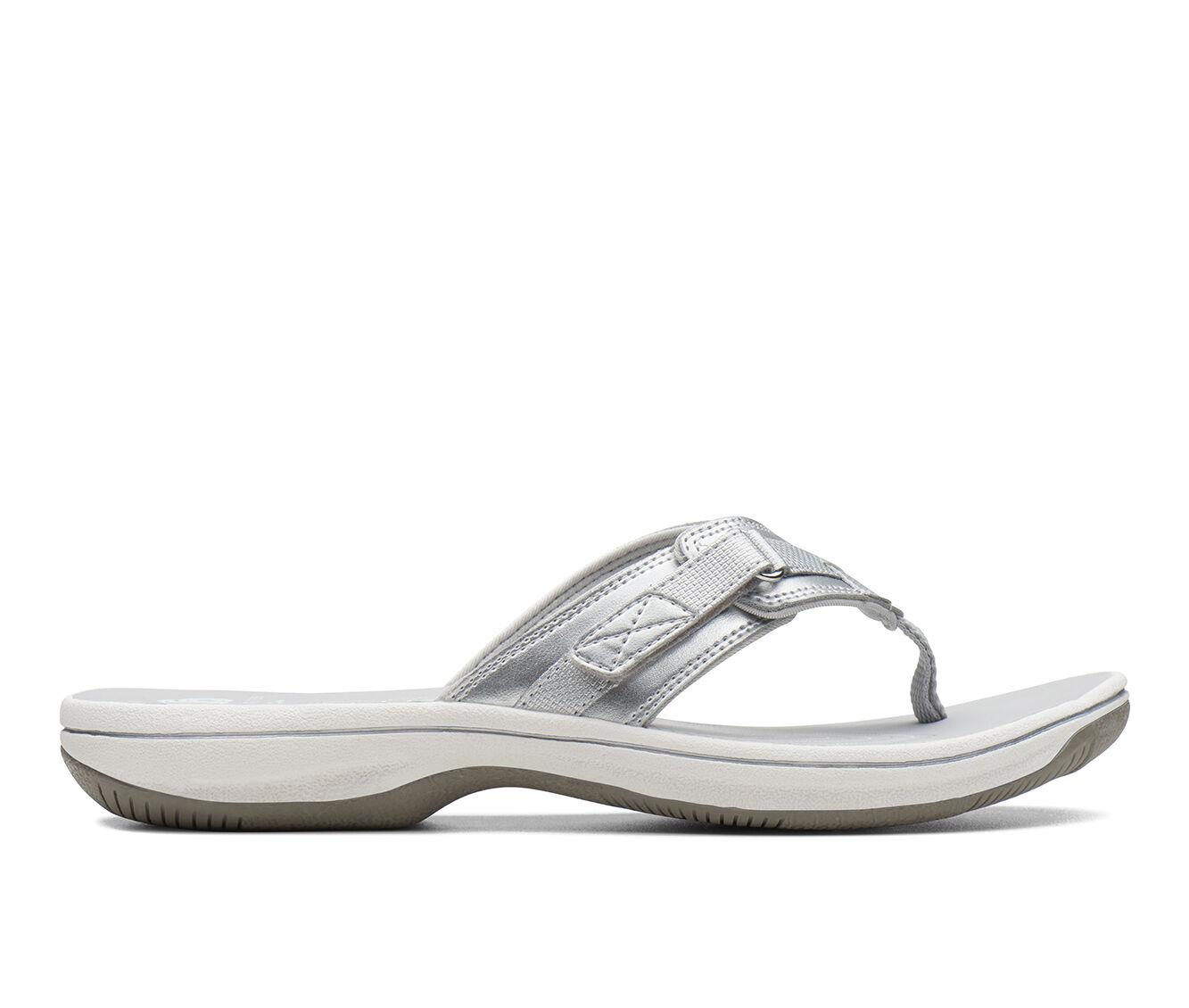 Women's Clarks Breeze Sea Sandals Silver Syn