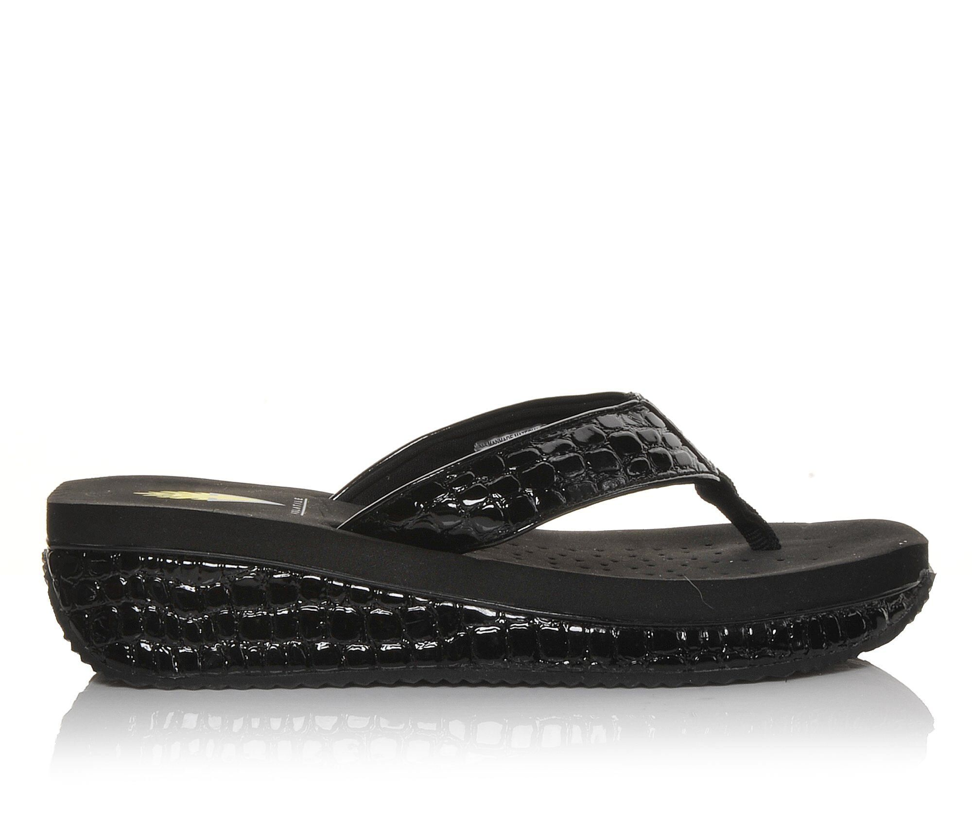 Women's Volatile Mini Croco Platform Flip-Flops Black