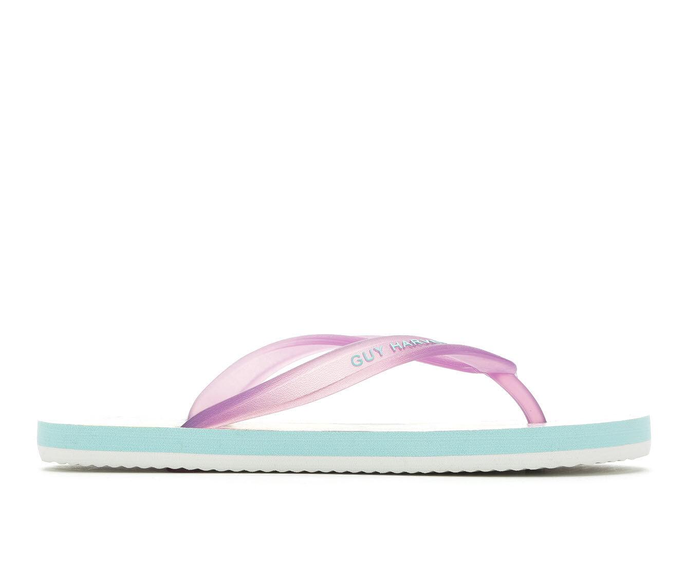 Women's Guy Harvey Cayman Angelfish Flip-Flops Purple/Aqua