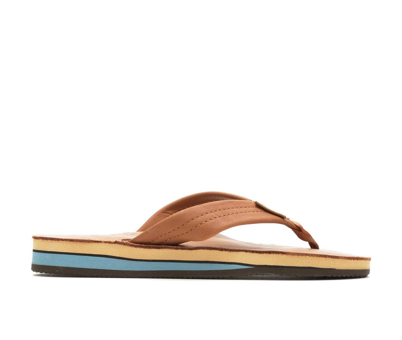 Delicate styles Women's Rainbow Sandals Premier Leather Double Layer -302ALTS Flip-Flops Classic Tan/Blu